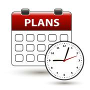 Tear-off calendar with clockface with title plans Stock Illustration
