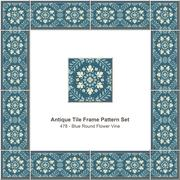 Antique tile frame pattern set of Retro Blue Round Flower Vine Stock Illustration