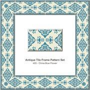 Antique tile frame pattern set of Oriental China Blue Flower Stock Illustration