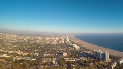 Aerial view of the beach in Santa Monica, CA Stock Footage