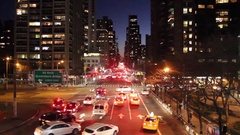 Evening aerial view of Midtown Manhattan and 2nd Avenue (right to left shot) Stock Footage