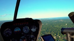 Flying a helicopter over the Bronx, NY in summer Stock Footage
