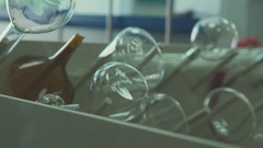 Laboratory beakers for experiments. Glass chemical vessels Stock Footage