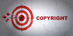 Law concept: target and Copyright on wall background Stock Illustration