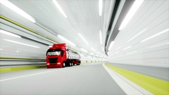 Red Gasoline tanker in a tunnel. fast driving. oil concept. 3d rendering. Stock Footage