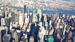 Aerial view of Midtown Manhattan, NY Stock Footage