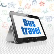 Tourism concept: Tablet Computer with Bus Travel on display Stock Illustration