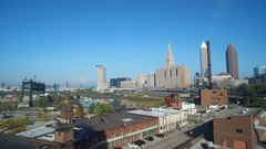 CLEVELAND - SKYLINE SHOT FROM SOUTH - WAREHOUSES IN FOREGROUND Stock Footage