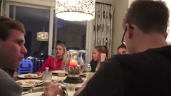 Thanksgiving Kids Table moving shot Stock Footage