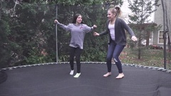 Cousins on the Trampoline Stock Footage