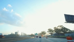CLEVELAND, SHOT FROM HIGHWAY AS APPROACHING CITY FROM WEST SIDE Stock Footage
