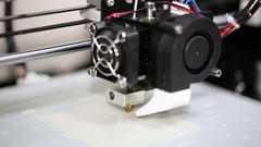 3d printer mechanism working yelement design Stock Footage