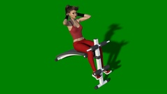 Fitness girl working out crunches on bench, athletic woman exercising Stock Footage