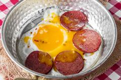 Turkish Sausage (sucuk) and egg Stock Photos