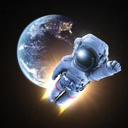 Astronaut conquers outer space Stock Illustration