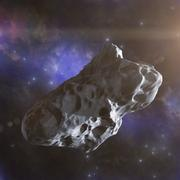 Asteroid flies in space Stock Illustration