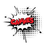Comic text Cannes sound effects pop art Stock Illustration