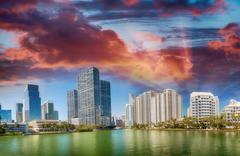 Brickell Key, Miami. City skyline at sunset, panoramic view Stock Photos