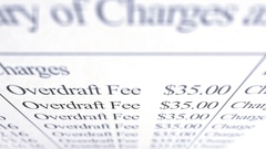 Overdraft Fee Paperwork - Above Angle Stock Footage