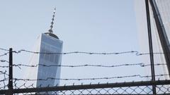 Long lens shot of New York City's World Trade Center- Brooklyn - construction Stock Footage