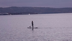 Stand up paddle surfing Stock Footage