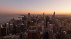 4K Timelapse zoom out sunset Chicago aerial Arkistovideo