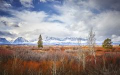 Autumn landscape in the Grand Teton National Park, Wyoming, USA Stock Photos