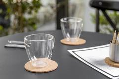 Iced coffee cup or cold brew coffee in a glass for waiting coffee Stock Photos