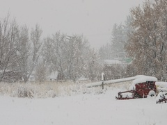 Winter snow blizzard storm farm equipment DCI 4K Stock Footage