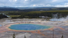 Aerial view of Grand Prismatic Spring in Midway geyser basin Stock Footage