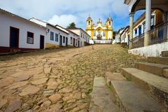 Church on a streets of the historical town Tiradentes Brazil Stock Photos