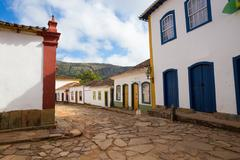 Streets of the historical town Tiradentes Brazil Stock Photos