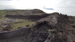Lava tube on Chinese Hat island in Galapagos National Park, Ecuador. Stock Footage