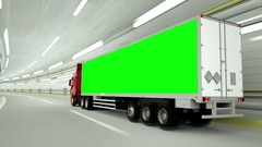 Red truckin a tunnel. fast driving. Green screen.3d rendering. Stock Footage