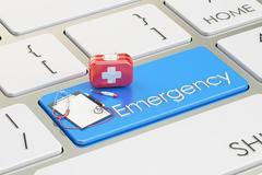 Emergency blue key on keyboard, 3D rendering Stock Illustration