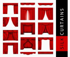 Vector set of red silk curtains with light and shadows of the open and closed Stock Illustration