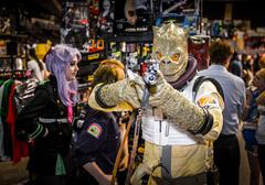Cosplayer dressed as the Star Wars bounty hunter 'Bossk' Stock Photos
