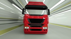 Red truckin a tunnel. fast driving. 3d rendering. Stock Footage