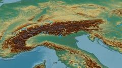 Revolution around Alps mountain range - masks. Relief map Stock Footage