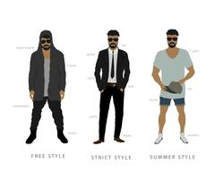 Clothing styles from classic to freestyle Stock Illustration