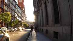 Traffic in Madrid in the sunset Stock Footage