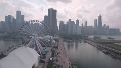 Aerial Pass by Navy Pier in Chicago Stock Footage