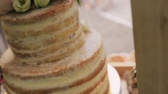 Big biscuit cake with shaken-up cream for holiday Stock Footage