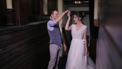 First wedding dance newlyweds on important day in house indoors Stock Footage