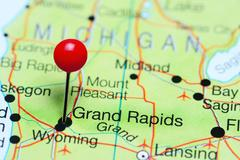 Grand Rapids pinned on a map of Michigan, USA Stock Photos