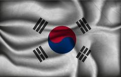 Wave country flag with shadows Stock Illustration