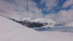 Ski Slope Aerial Chairlift Stock Footage