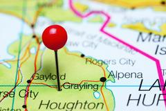 Grayling pinned on a map of Michigan, USA Stock Photos