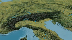 Revolution around Alps mountain range - masks. Topographic map Stock Footage