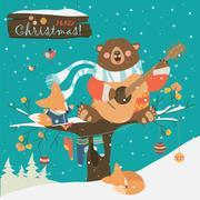 Cute bear and little fox celebrating Christmas Stock Illustration